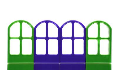 Four green blue emptry door frames