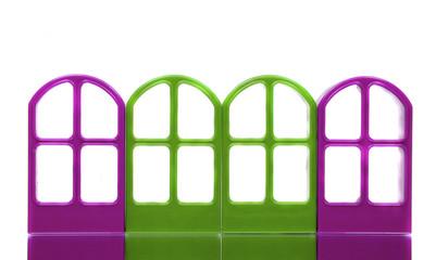 Four purple green empty door frames