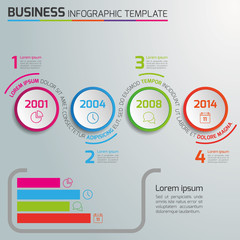 4 Steps business process infographics vector, light, circles
