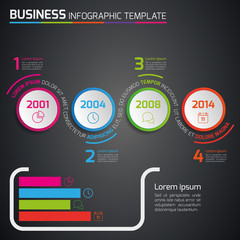 4 Steps business process infographics vector, dark, circles