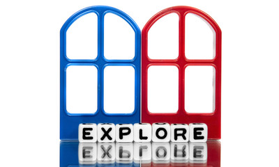 Explore text on red and blue frames
