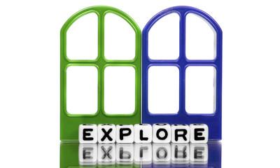 Explore text on green and blue windows