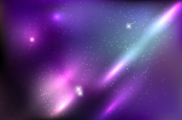Abstract cosmos background with shiny stars and rays