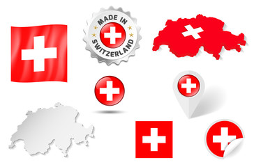 Set of flags, maps etc. of Switzerland - isolated on white
