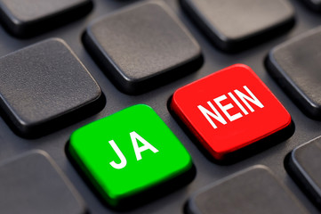 Computer keyboard with keys ja nein (yes no in german)