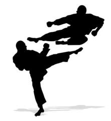 silhouette di uomini che praticano il karate