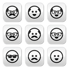 Bald man with mustache and in glasses faces buttons set