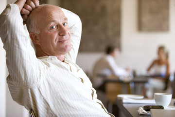 Man relaxing in cafe