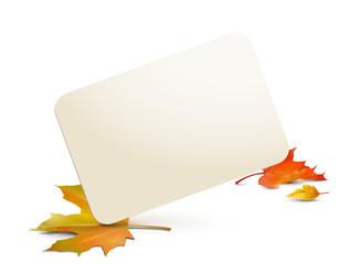 Karte mit Herbstblättern