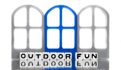 Outdoor fun message with blue door
