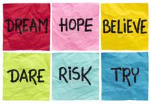 """Постер, картина, фотообои """"dream, believe, risk, try"""""""