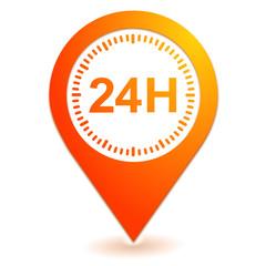 24 heures sur symbole localisation orange
