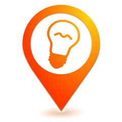 ampoule sur symbole localisation orange