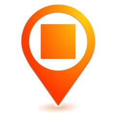carré sur symbole localisation orange