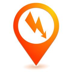 énergie électrique sur symbole localisation orange