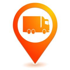 poids lourd sur symbole localisation orange