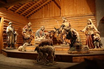 Il presepio in legno di Santa Cristina di Valgardena