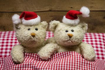 Lustige Weihnachtskarte: zwei Teddybären an Heiligabend