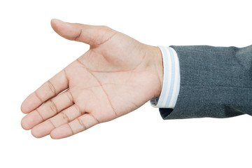 Businessman holds out his hand for a handshake