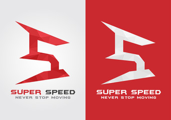 S Super Speed icon symbol from an alphabet letter S.