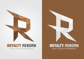 R Royalty reborn. Icon symbol from an alphabet R.