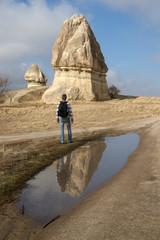 Trekker at Goreme, Turkey