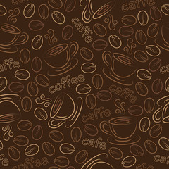 Seamless pattern with cups and coffee grains. Vector.