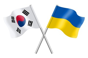 Flags : South Korea and Ukraine