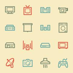 Home Appliance web icons, retro color
