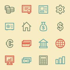 Money web icons, retro color