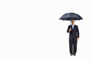 Businessman with umbrella, portrait, cut out