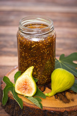 Homemade fig jam in the jar
