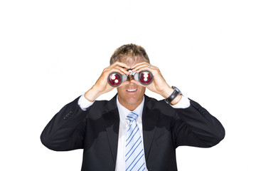 Businessman using binoculars, cut out