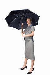 Businesswoman with umbrella, cut out
