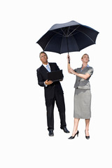 Businessman and woman with umbrella, man with laptop computer, cut out