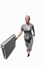 Businesswoman walking with briefcase, cut out