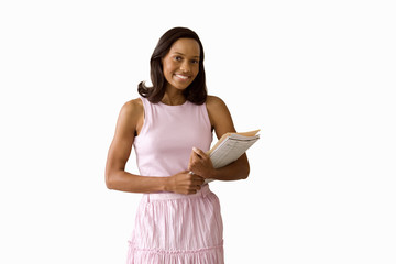Woman with paperwork, smiling, portrait, cut out