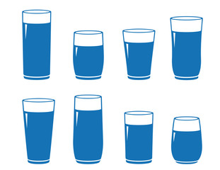 set of isolated water glass