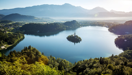 Bird view on Bled lake in Slovenia