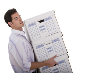 Businessman with boxes, cut out