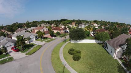Suburban homes aerial view