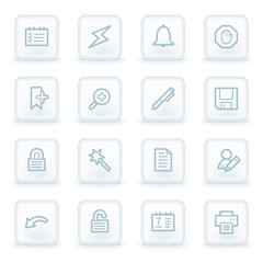 Scheduler web icons,  white square buttons