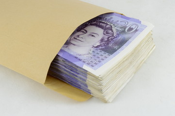 Twenty pound notes in brown envelope