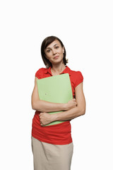 Businesswomen, carrying file, smiling, front view, portrait, cut out