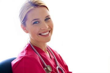 Young female nurse, smiling, portrait, close-up, cut out