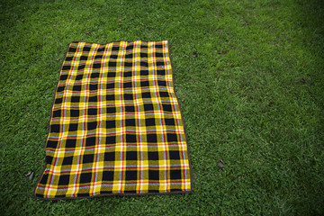 plaid blanket on grass