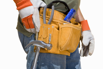 Close up of construction worker's tool belt, cut out
