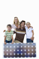 Family with solar panel, smiling, portrait, cut out