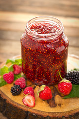 Homemade raspberry jam in the jar