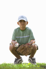 Boy with baseball and mitt, cut out